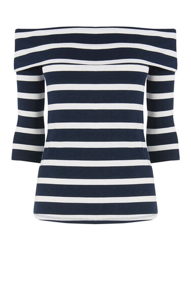 Warehouse, STRIPE BARDOT TOP Blue Stripe 0