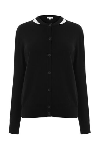 Warehouse, SPLIT NECK CREW CARDI Black 0