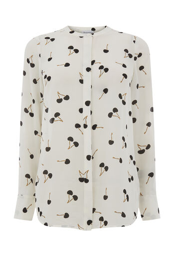 Warehouse, CHERRY PRINT BLOUSE Neutral  Print 0