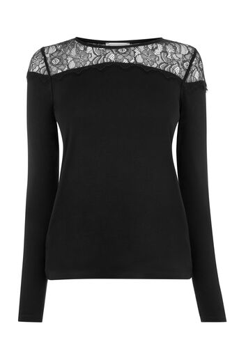 Warehouse, LACE PANEL JERSEY TOP Black 0