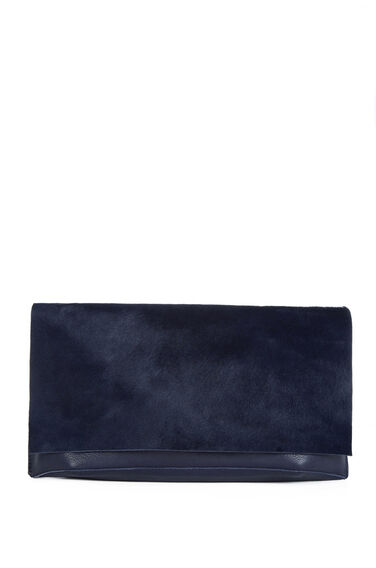 Warehouse, Pony Leather Clutch Bag Navy 0