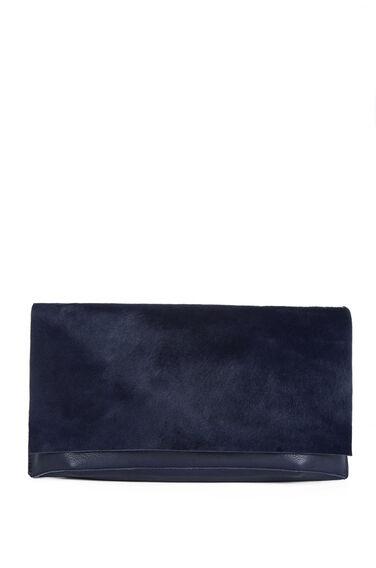 Warehouse, Pony Leather Clutch Bag Navy 0