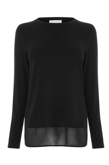 Warehouse, WOVEN MIX WRAP BACK TOP Black 0