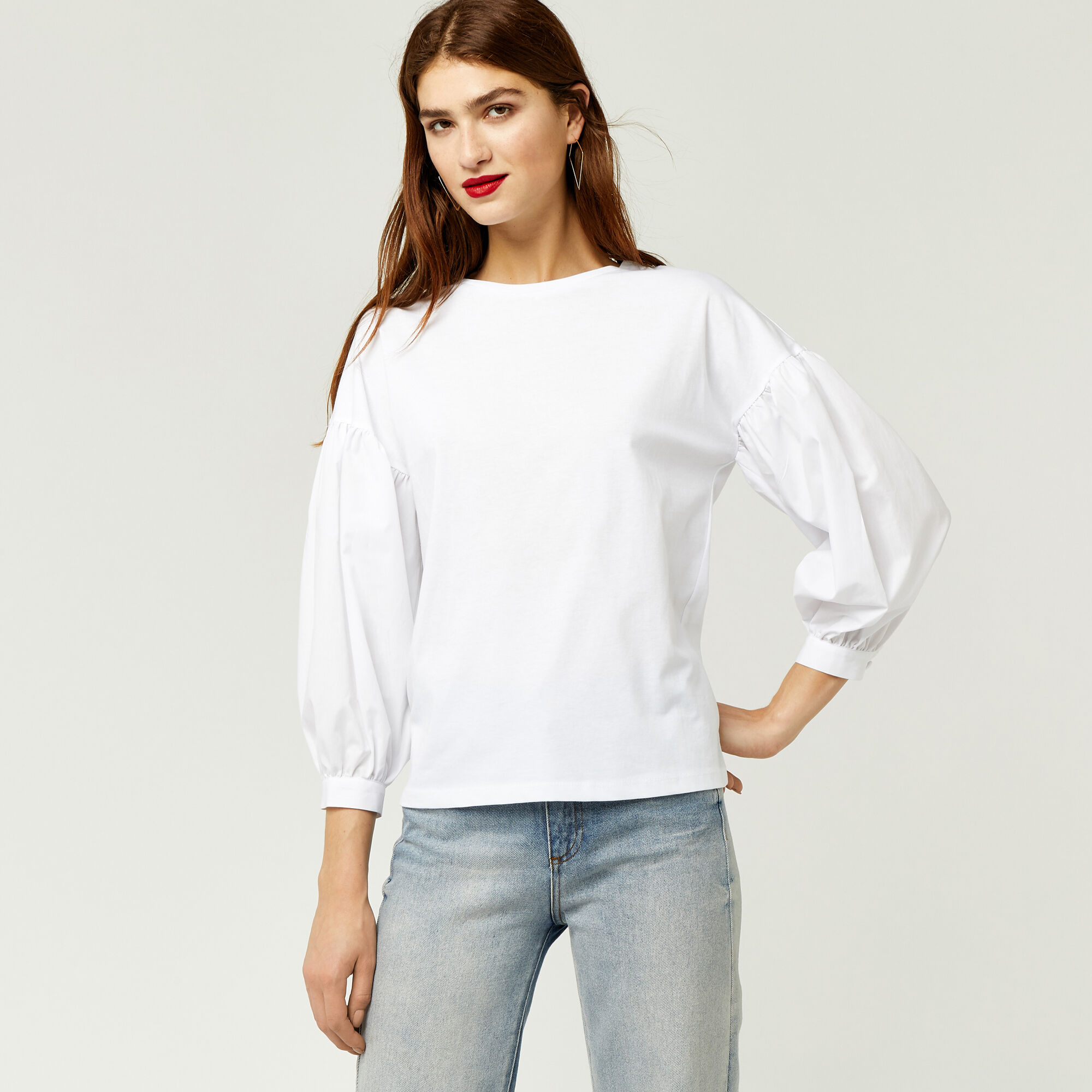 Warehouse, BALLOON SLEEVE WOVEN MIX TOP White 1