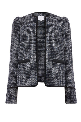 Warehouse, BRIDGET TWEED JACKET Blue Pattern 0