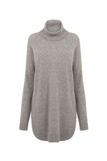 Warehouse, RIB CURVE HEM COWL NECK JUMPER Light Grey 0