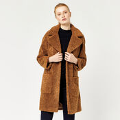 Warehouse, Teddy Faux Fur Coat Tan 1