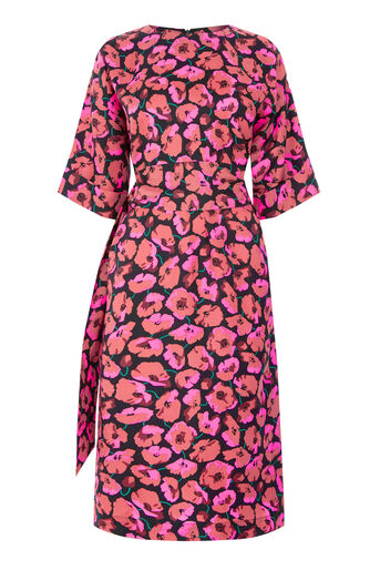 Warehouse, POPPY PRINT SILK MIDI DRESS Pink Pattern 0