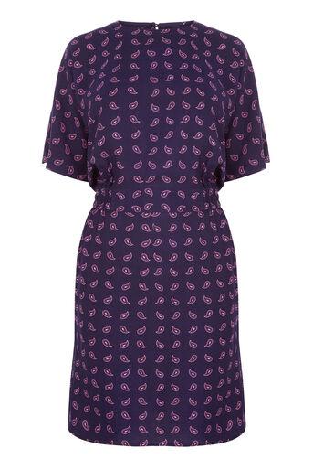 Warehouse, MINI PAISLEY SHIFT DRESS Blue Pattern 0
