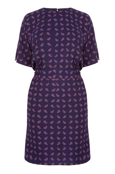 Warehouse, MINI PAISLEY SHIFT DRESS Blue Pattern 0