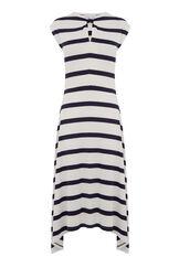 Warehouse, WIDE STRIPE KNOT NECK DRESS Blue Stripe 0