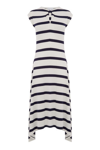 Warehouse, WIDE STRIPE KNOT NECK DRESS Blue Stripe 0
