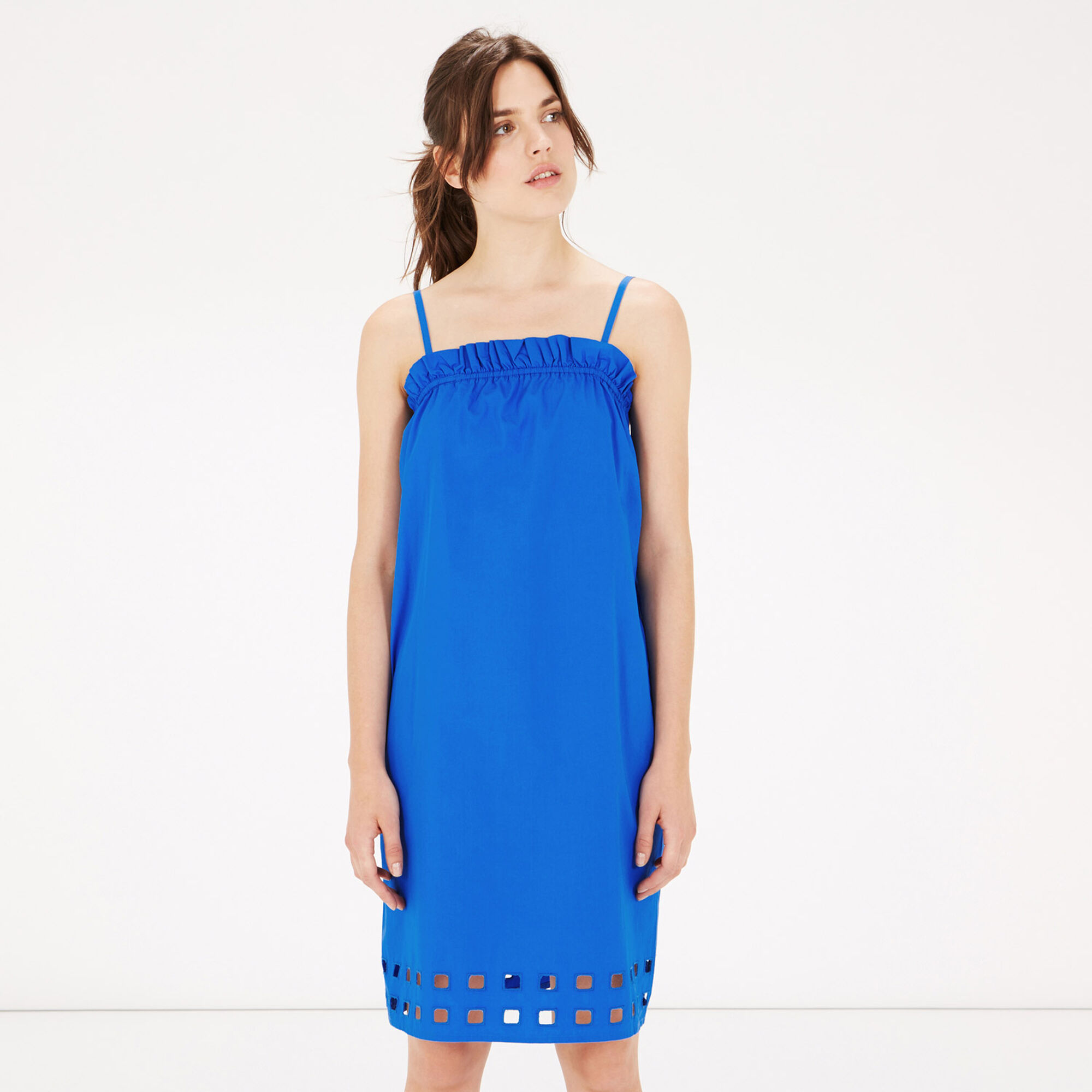 Warehouse, Square Cutwork Cami Dress Bright Blue 1