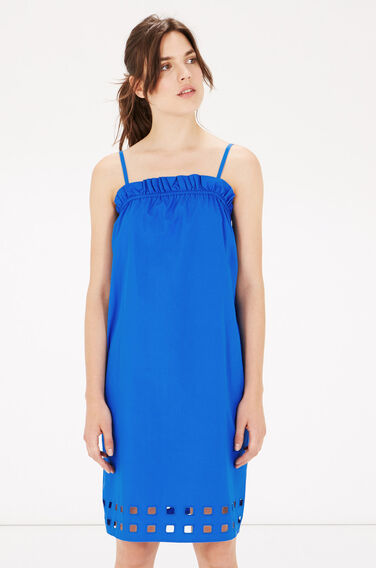 Warehouse, Square Cutwork Cami Dress Bright Blue 0