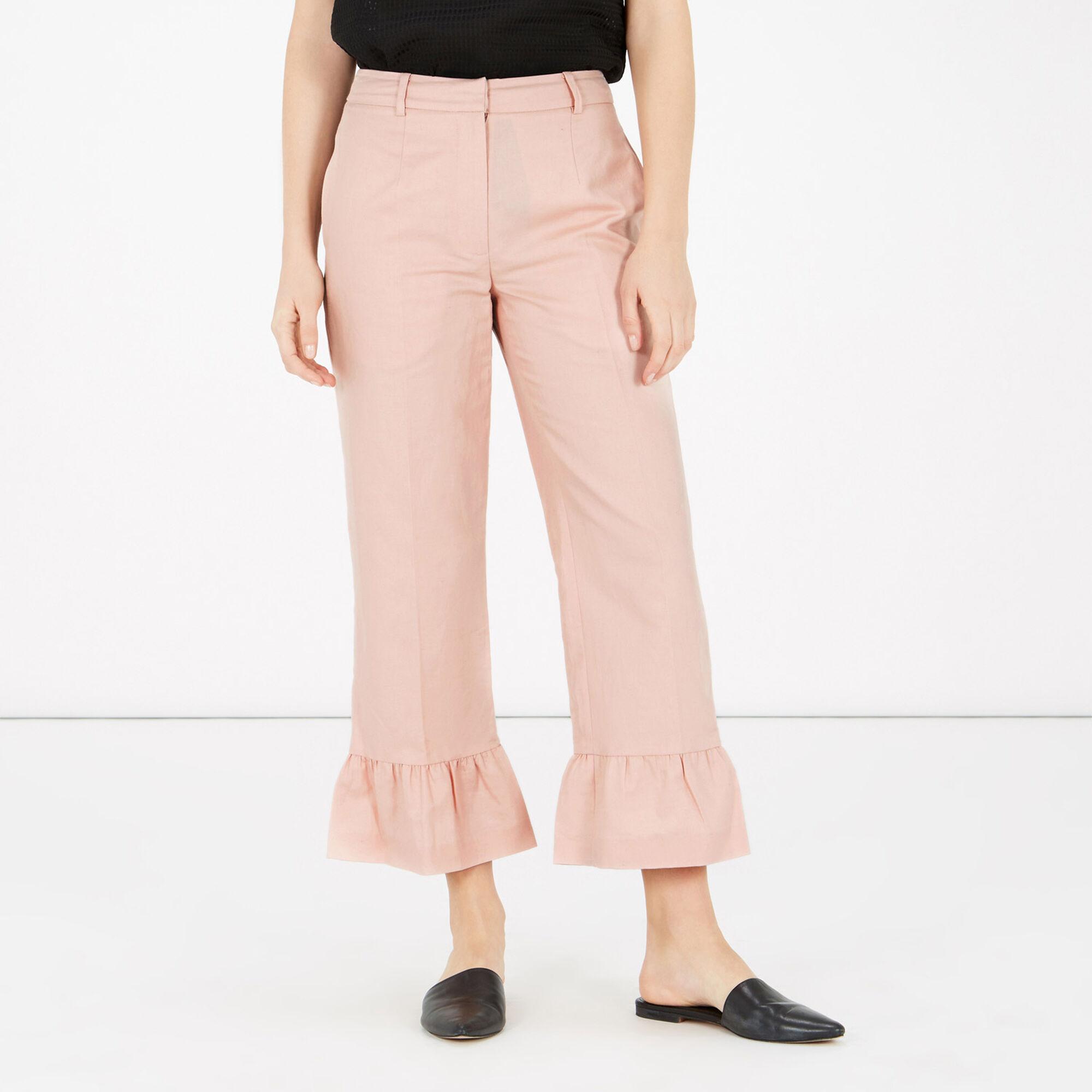 Warehouse, FRILL HEM TROUSERS Light Pink 1