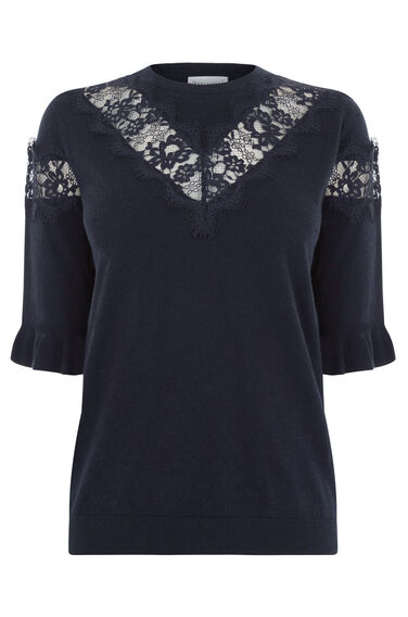 Warehouse, LACE INSERT FRILL CUFF JUMPER Navy 0