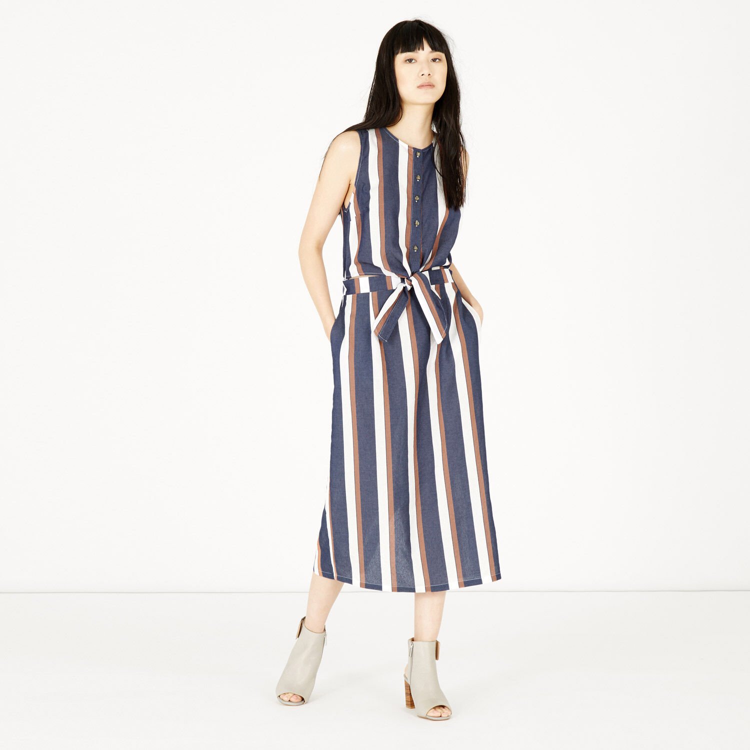 Warehouse, Stripe Tie Front Dress Blue Stripe 1