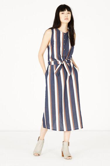 Warehouse, Stripe Tie Front Dress Blue Stripe 1