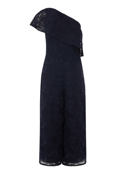 Warehouse, FLORAL LACE JUMPSUIT Navy 0