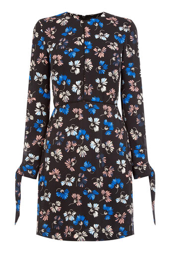 Warehouse, DANDY FLOWER SKATER DRESS Black Pattern 0