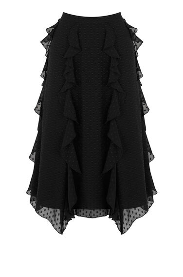 Warehouse, RUFFLE SPOT MIDI SKIRT Black 0