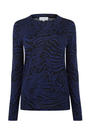 Warehouse, ZEBRA PRINT LONG SLEEVE TOP Multi 0