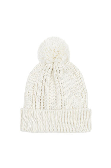 Warehouse, Cable Knit Hat Cream 0