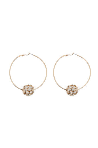 Warehouse, DIAMANTE BALL HOOP EARRING Gold Colour 0