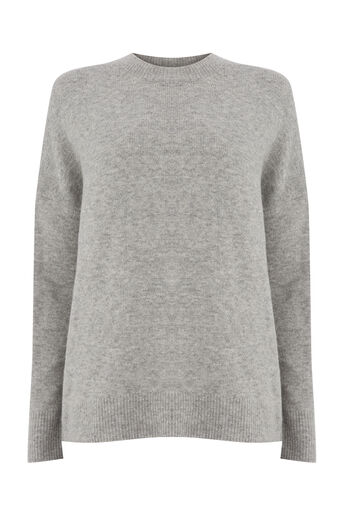 Warehouse, SOFT ZIP SIDE JUMPER Light Grey 0
