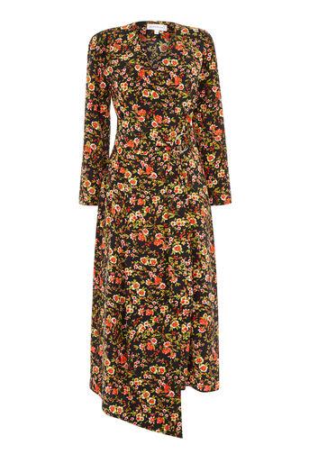 Warehouse, SIDNEY FLORAL WRAP DRESS Black Pattern 0