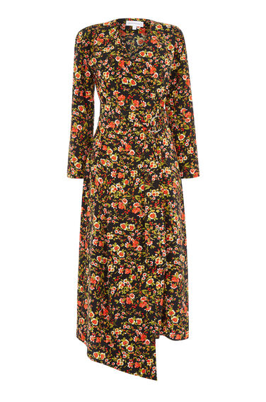 Warehouse, SIDNEY FLORAL WRAP DRESS Black Pattern 0