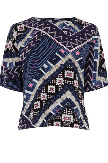 Warehouse, PATCHWORK PRINT TOP Multi 0