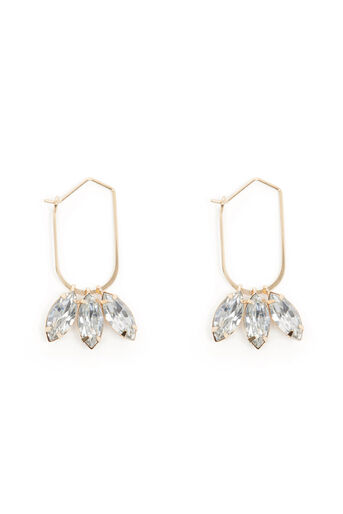 Warehouse, TRIPLE DROP DIAMANTE EARRING Gold Colour 0