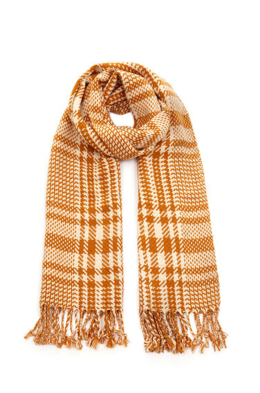 Warehouse, Dogtooth Check Scarf Brown 0
