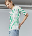 Warehouse, STRIPE ZIP TOP Green Stripe 1
