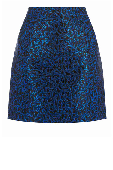 Warehouse, DISCO LEOPARD JACQUARD SKIRT Blue Pattern 0