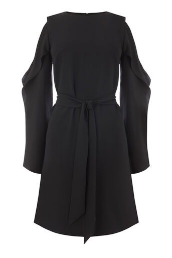 Warehouse, OPEN COLD SHOULDER DRESS Black 0