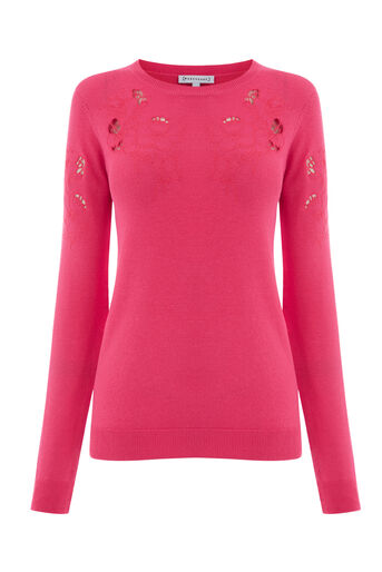 Warehouse, FLORAL EMBROIDERED JUMPER Bright Pink 0