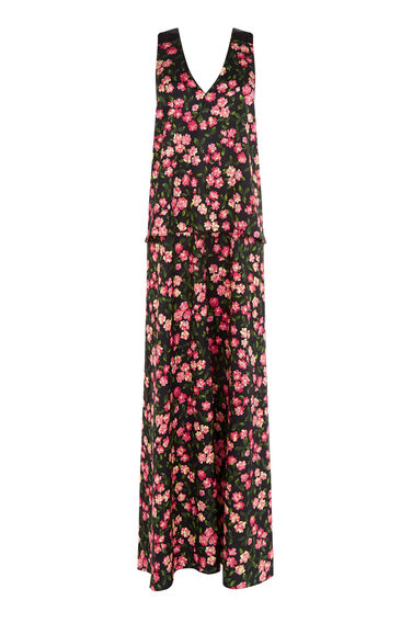 Warehouse, CHERRY BLOSSOM MAXI DRESS Black Pattern 0