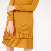 Warehouse, PLEATED HEM SHIFT DRESS Mustard 3