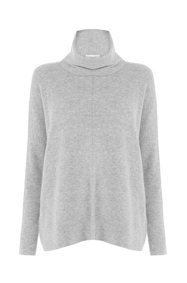 Warehouse, RIB COWL NECK BOXY JUMPER Light Grey 0