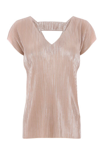 Warehouse, FOIL PLISSE TOP Light Pink 0
