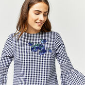 Warehouse, DELIA EMBROIDERY GINGHAM DRESS Navy 4