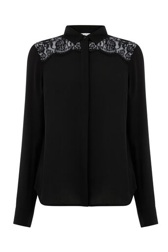 Warehouse, LACE TRIM BLOUSE Black 0