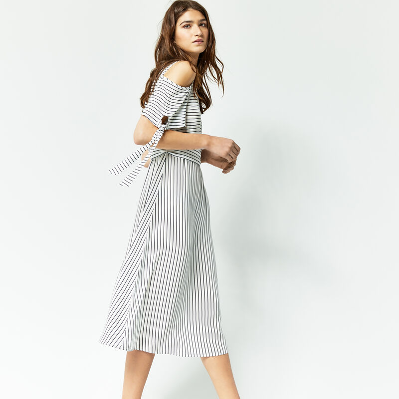 Warehouse, STRIPE TIE BEACH MIDI DRESS Blue Stripe 1
