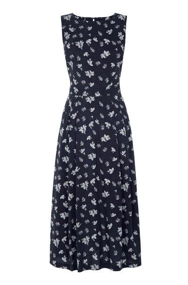 Warehouse, Leaf Print Midi Dress Blue Pattern 0
