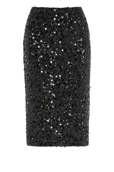 Warehouse, SEQUIN PENCIL SKIRT Black 0