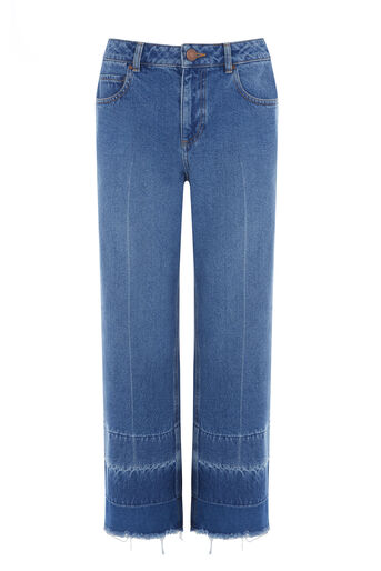 Warehouse, Crease Front Blocked Jean Mid Wash Denim 0
