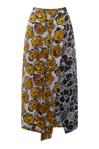Warehouse, MIXED WOODBLOCK SILK SKIRT Multi 0