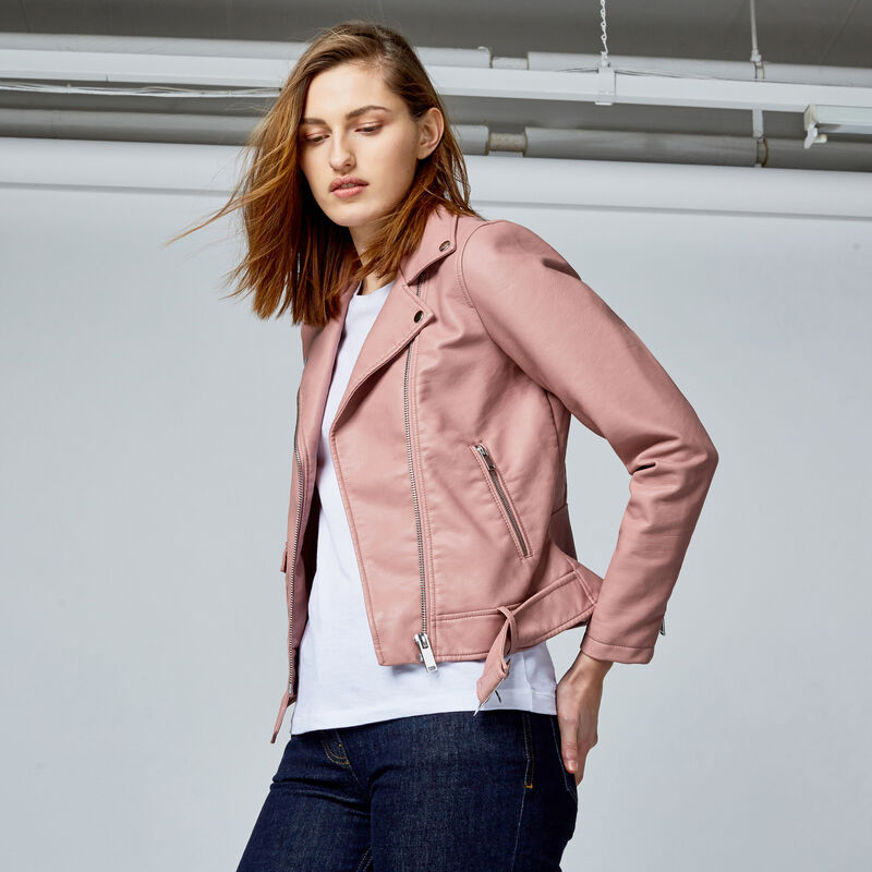 Warehouse, Faux Leather Crop Biker Jacket Bright Pink 1